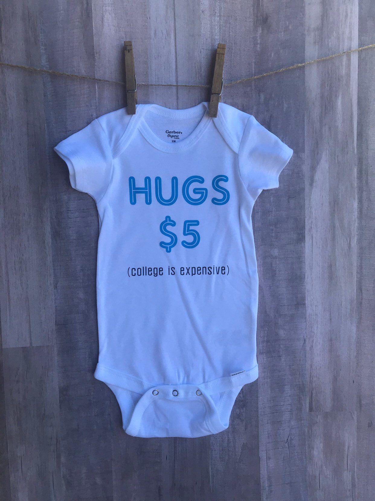 Hugs 5 dollars onesie   Onesies, Baby, Iron on vinyl