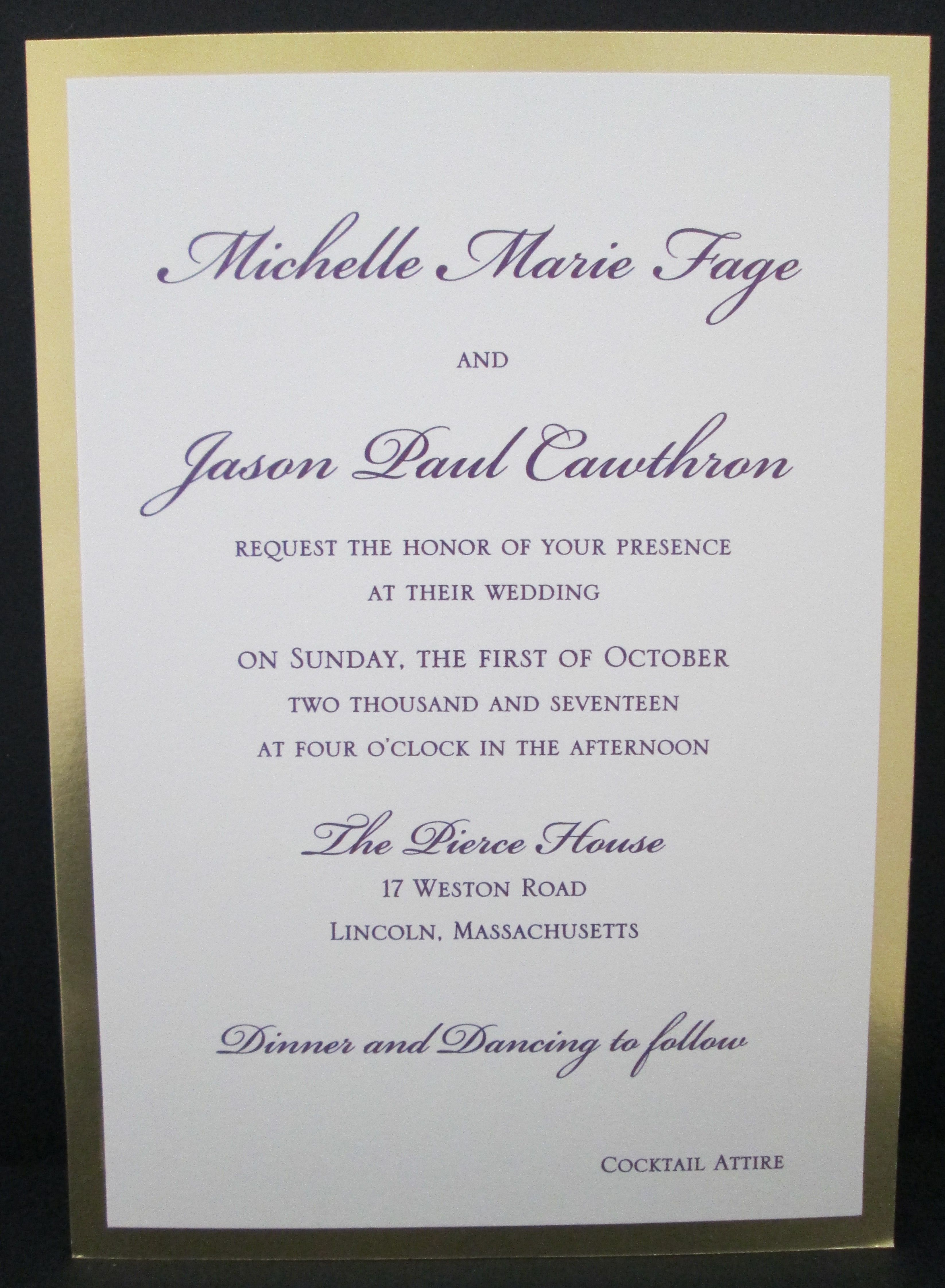 2 layer wedding invitation with shiny gold mirror paper