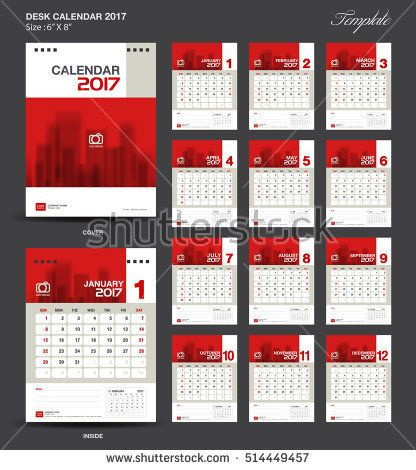 Set Red Desk Calendar 2017 year size 6 x 8 inch template, Set of 12