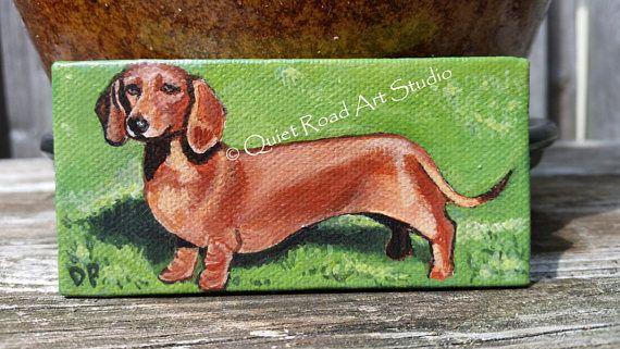 Dachshund Mini Canvas Painting Weiner Dog Dog Art Dog Artwork