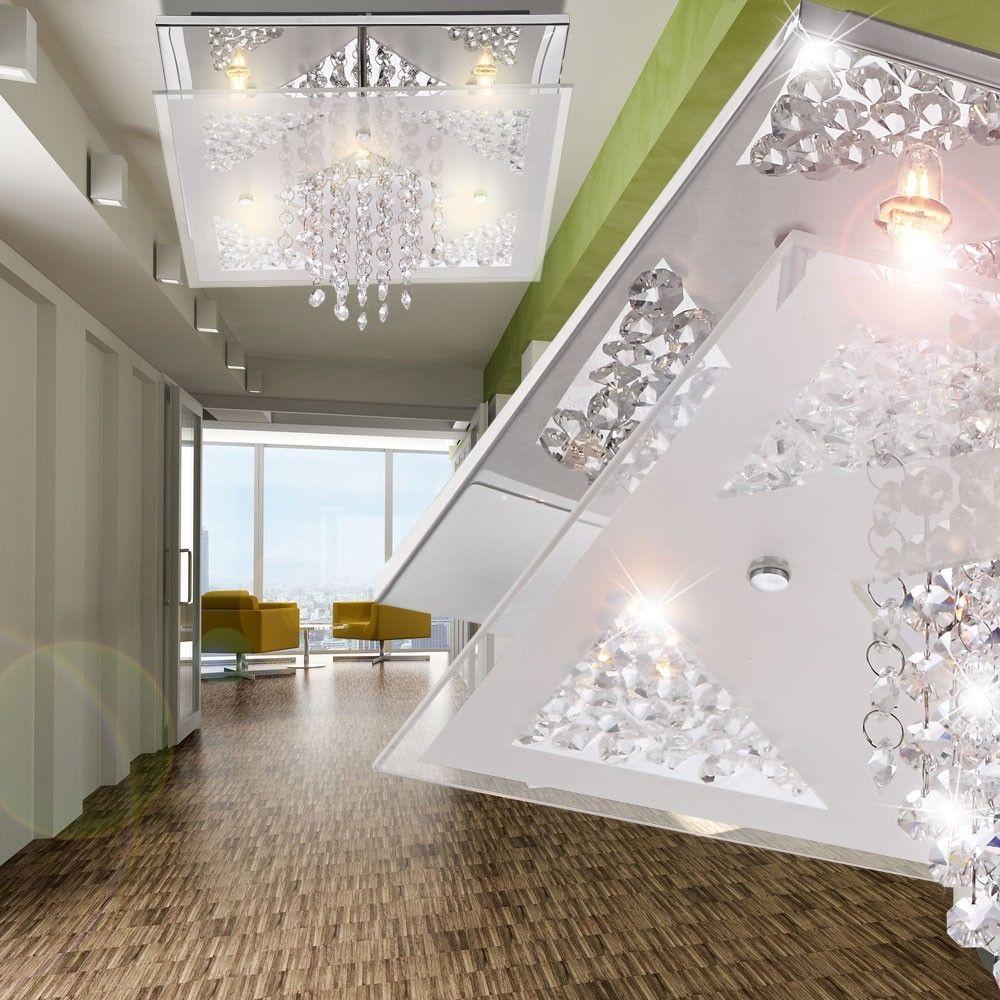 Details Zu Design Decken Leuchte Deckenlampe Beleuchtung Lampe Glasplatte  Kristall Behang