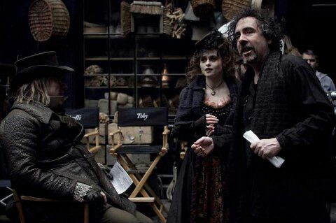 Tim and Helena - Sweeney Todd Set. Haven't seen this pic before! Love it!