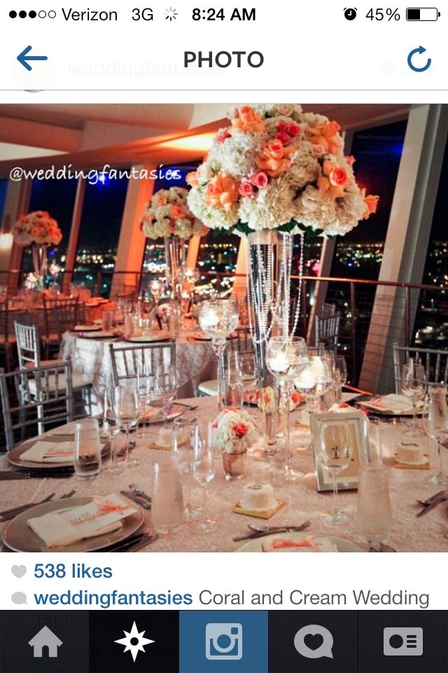 Coral and creme wedding centerpieces