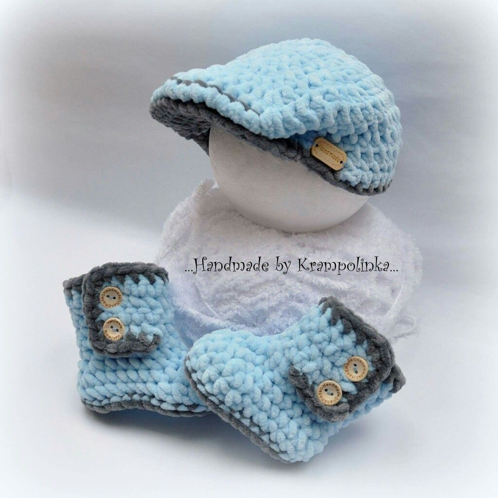 Baby crochet peaked hat and booties