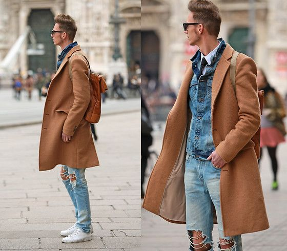 Get this look: http://lb.nu/look/7250272  More looks by Chaby H.: http://lb.nu/user/86299-Chaby-H  Items in this look:  Tailor4 Less Camel Coat, Benzolbag Leather Recycled Backpack, Denim Jacket, Ripped Jeans, Leather Sneakers   #casual #dapper #elegant #leather #bikerjacket #boots #printedsweatshirt #sweatshirt #hat