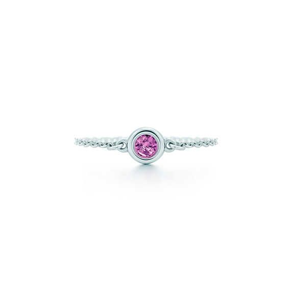 Elsa Peretti® Color by the Yard ring in sterling silver with a pink sapphire. | Tiffany & Co.