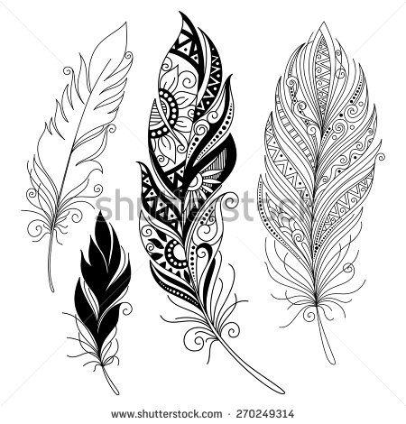 Vector Peerless Decorative Feather, Tribal design, Tattoo