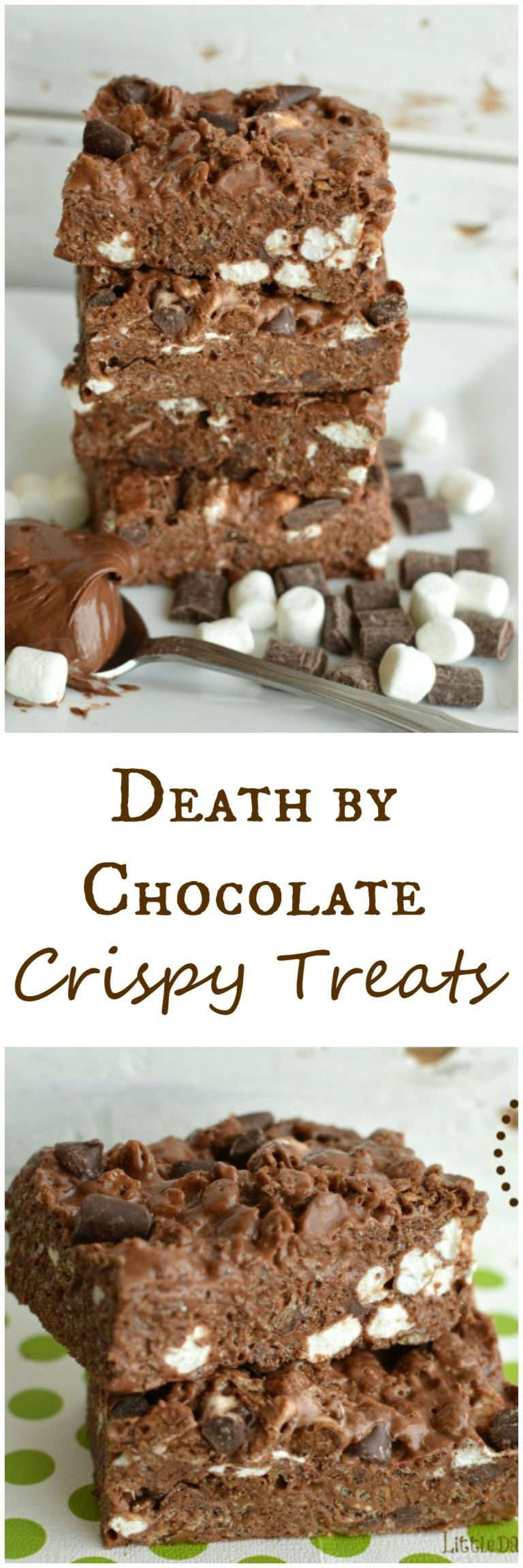 Death By Chocolate Crispy Treats #crispytreats