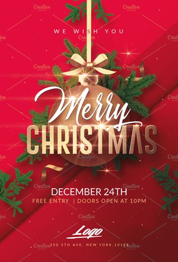 Merry Christmas Template Invitation  Flyers Merry Christmas
