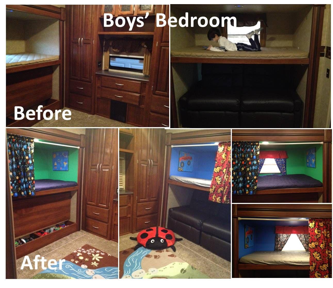 rv remodel: rv bunkhouse, boys bunk beds, 5th wheel bunkhouse. www