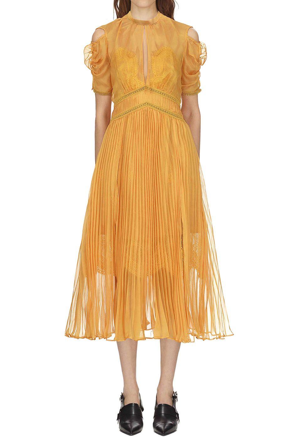 f5d3fa14a23c Self Portrait Mustard Pleated Chiffon Midi Dress | self portrait ...