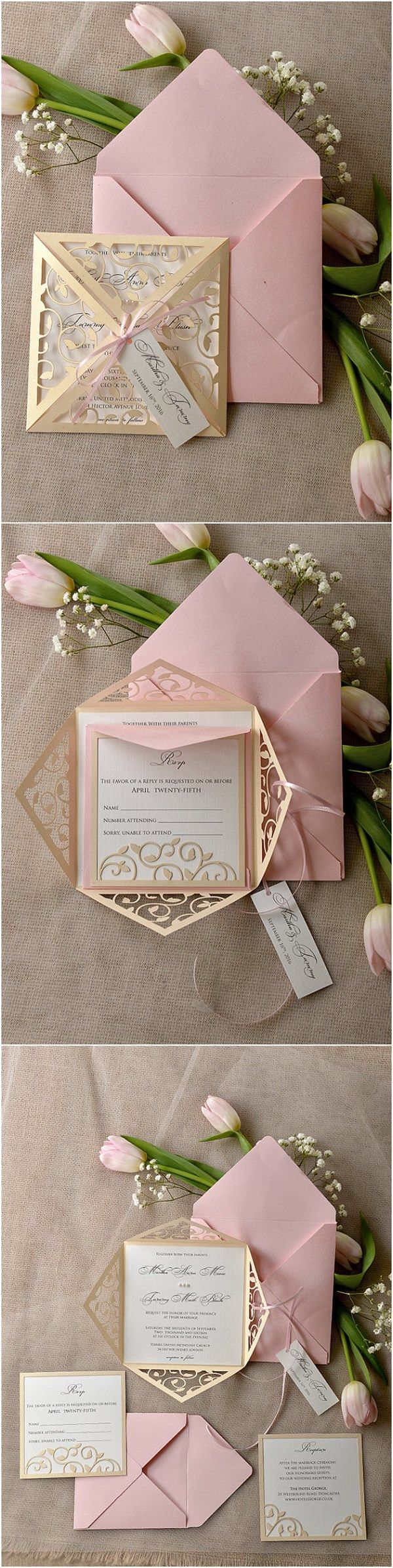 Wedding invitations wedding invitation purple gold ornate - Vintage Patel Pink Blush Gold Laser Cut Wedding Invitation
