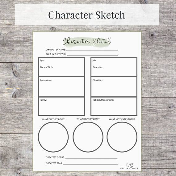Creative Writing Printable Character Sketch Worksheet US | Comedy ...