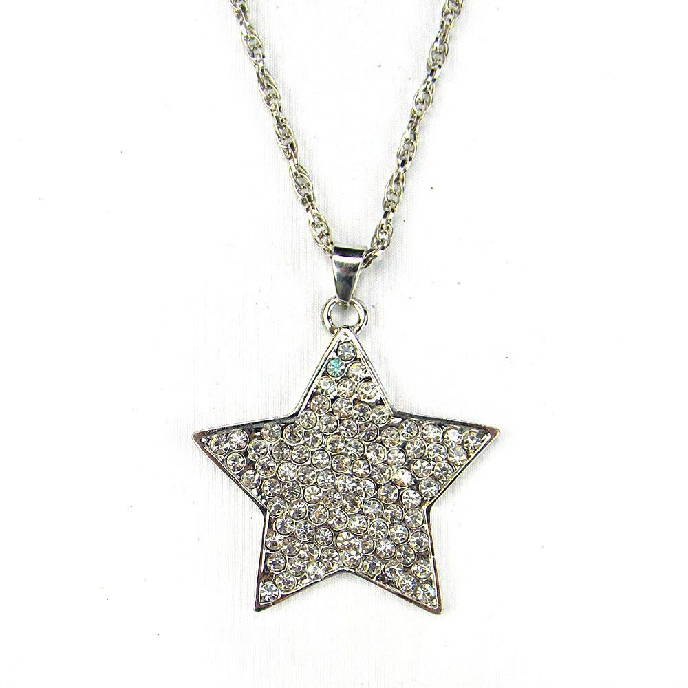 Montana West NKY101220-09 Metal Chain Ranch Star Pendant With Rhinestones Covered Necklace