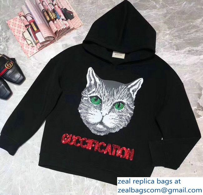 cd6131772 Gucci GUCCIFICATION Cat Black Sweatshirt 2018 | Luxury Clothes ...