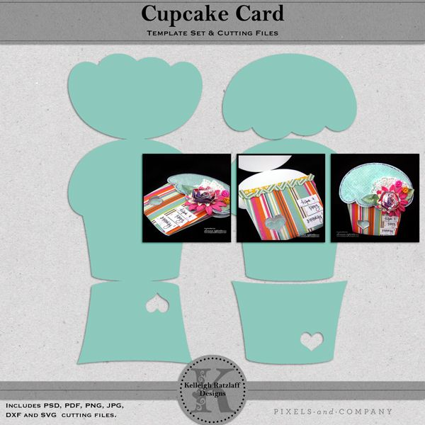 Cupcake Card Template Set and Cutting Files