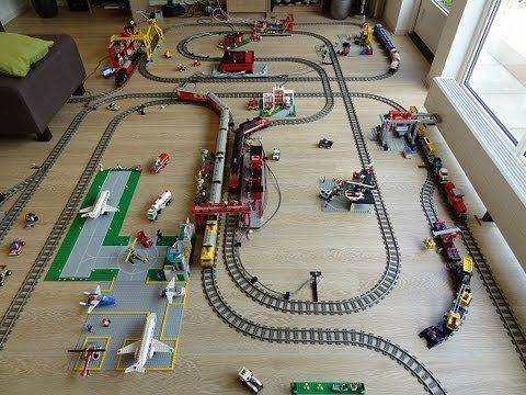 Huge Lego 9 volt train dream layout fully automated by Arduino video