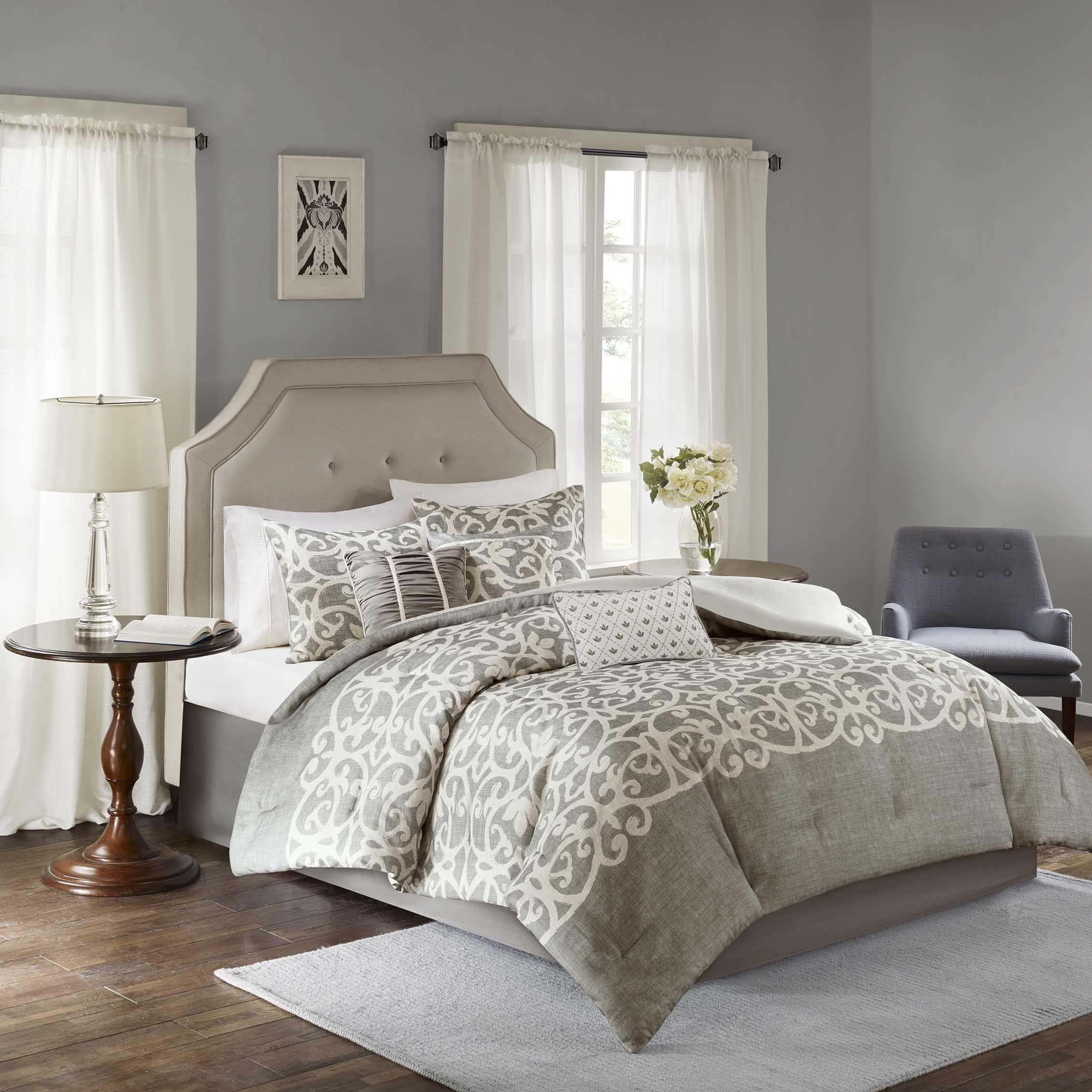 Madison Park Novella Grey 7 Piece Comforter Set Overstock Com