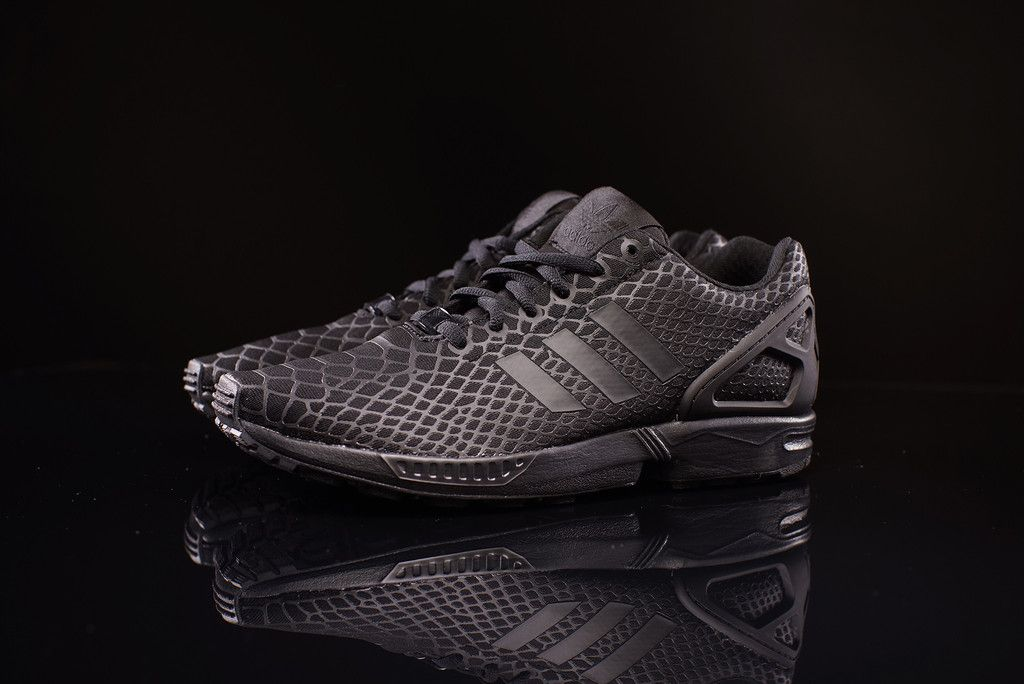 4409cc29f9e2 Dope Adidas Trainers Flux Snakeskin Black