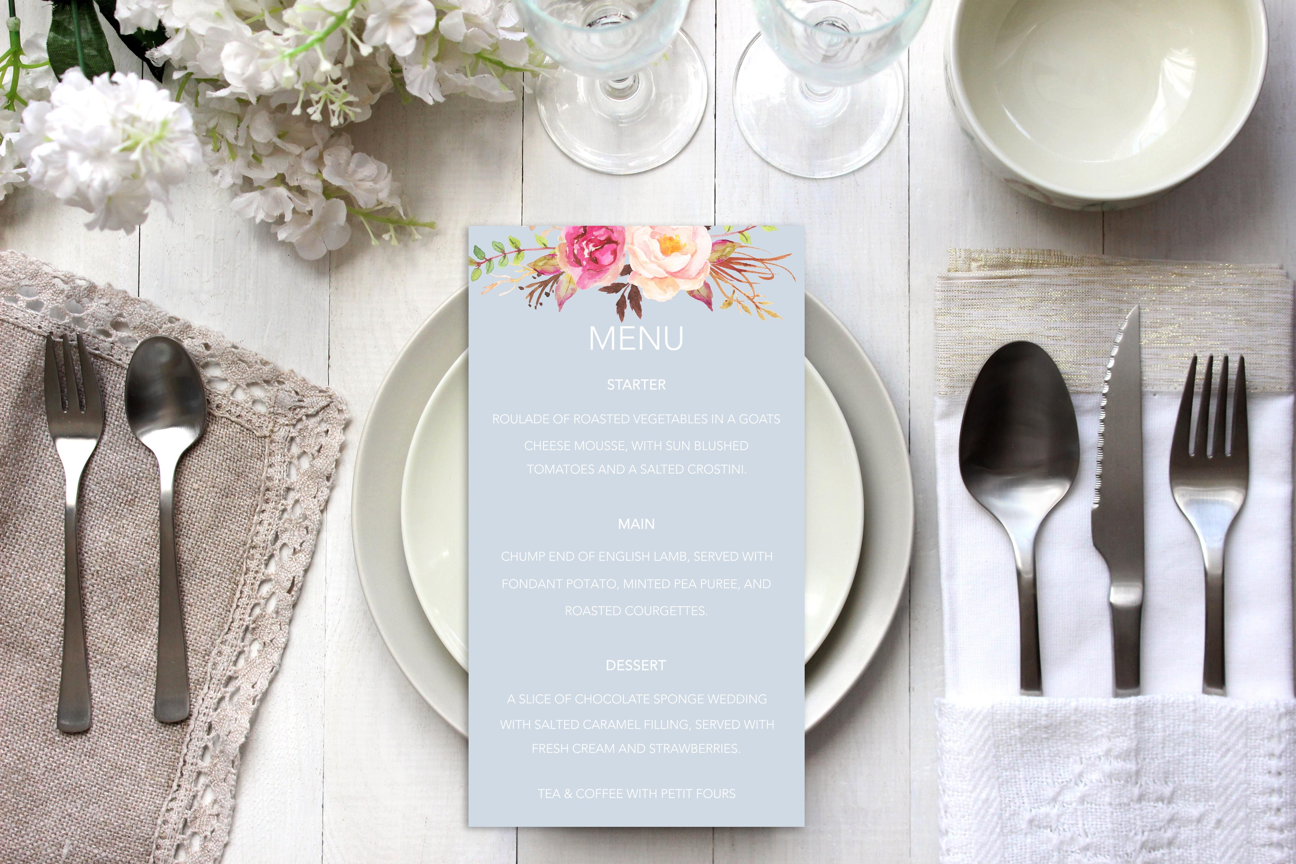Elegant Pastel blue watercolour floral pretty wedding
