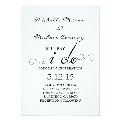 Black White Chandelier I Do Wedding Invitation