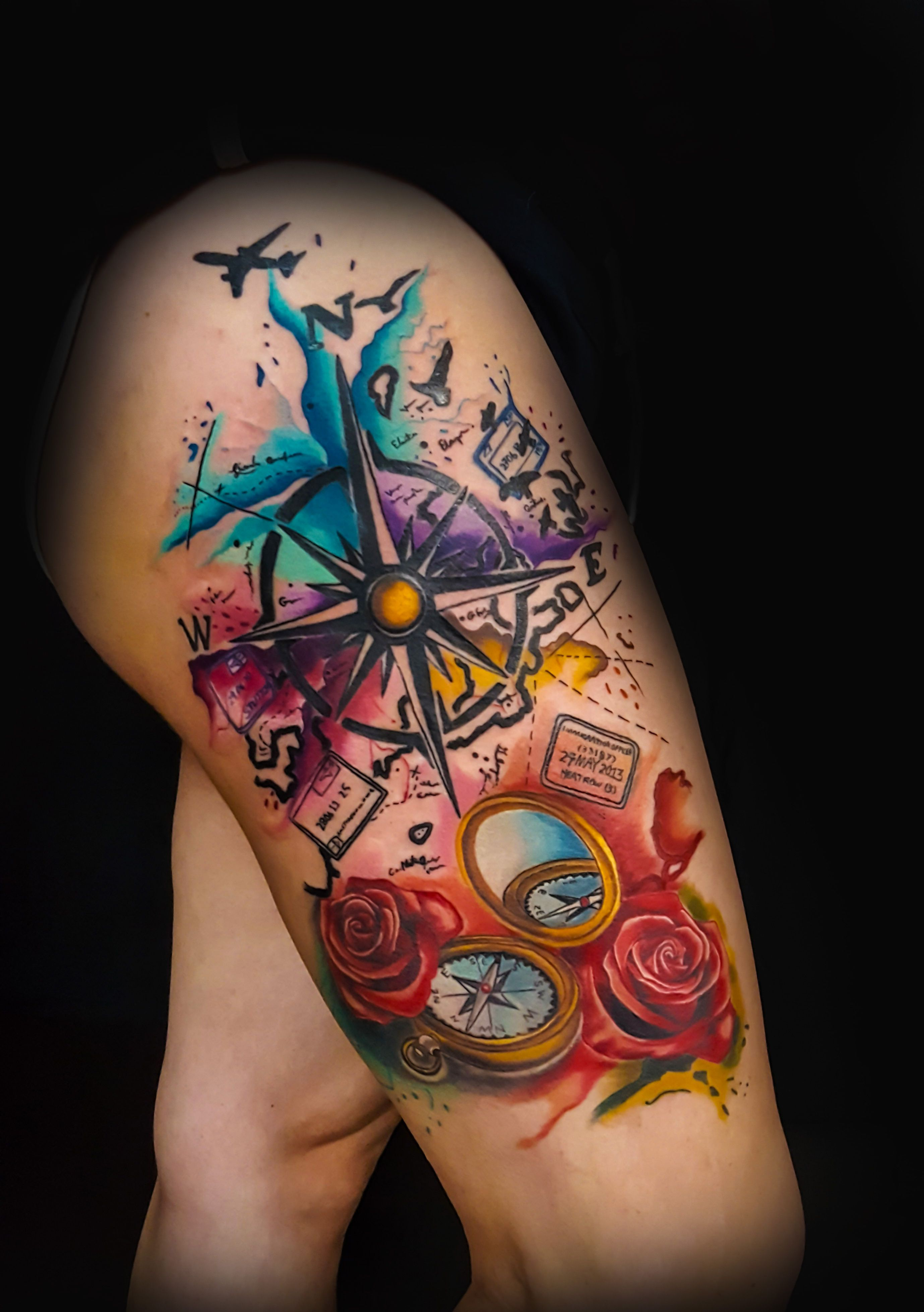 Love To Travel Tattoo Ink Tattoos Compass Tattoo Watercolor