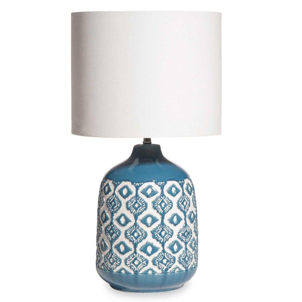 lampe en c ramique bleue abat jour cru lampes en. Black Bedroom Furniture Sets. Home Design Ideas