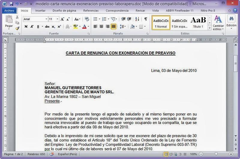 Descarga el modelo de carta de renuncia con exoneración de plazo ...