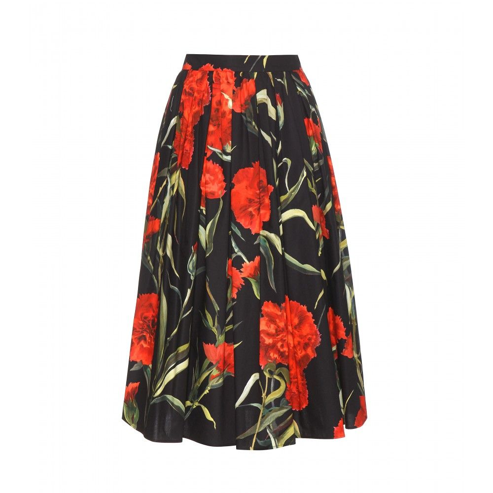 Dolce & Gabbana - Floral-printed cotton skirt - Float elegantly through the day in this Dolce & Gabbana midi skirt. We can't get enough of the brand's feminine florals this season. Red carnations liven up this black cotton style, making it the perfect infusion of colour for your new-season wardrobe. seen @ www.mytheresa.com