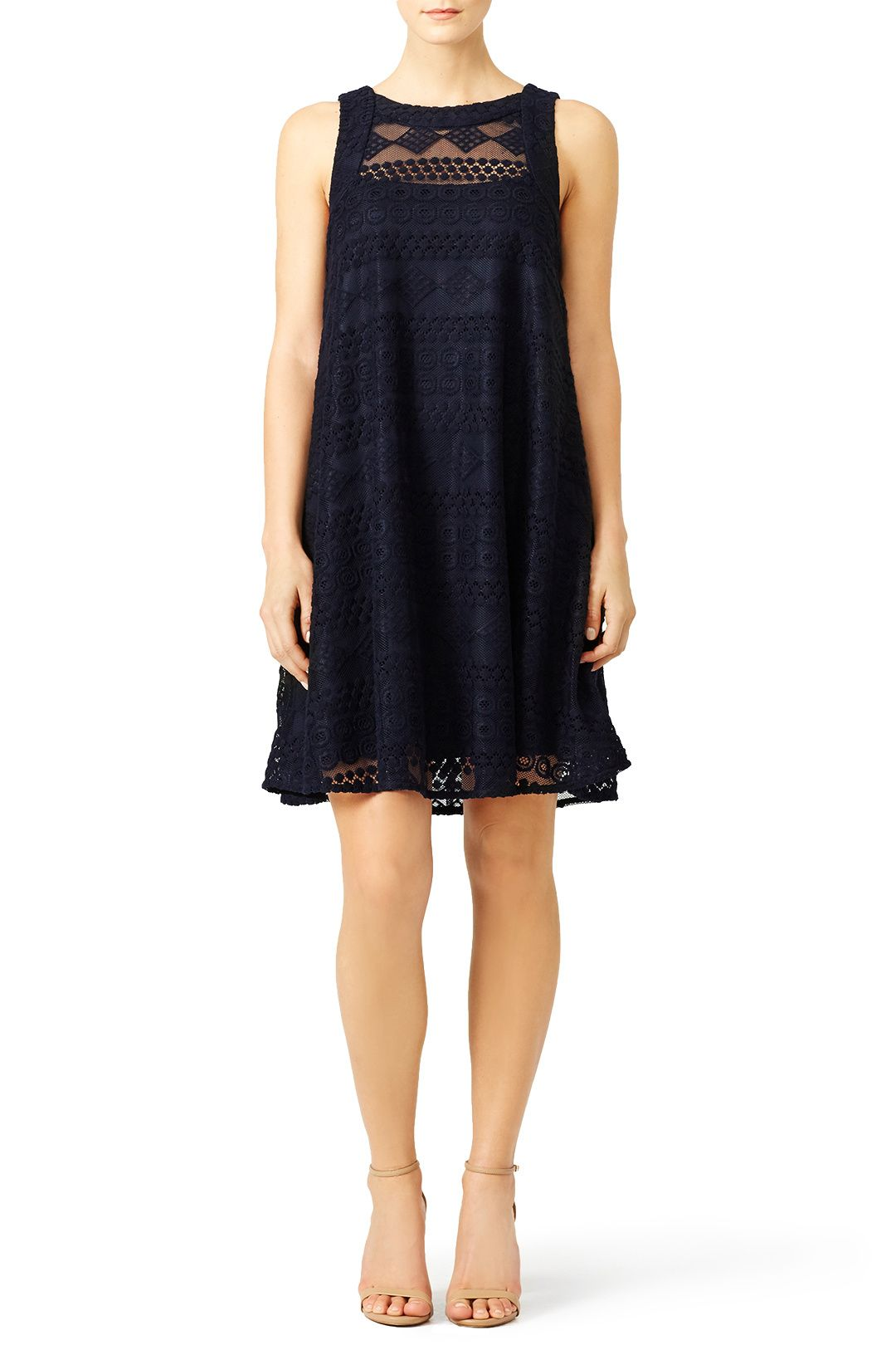 Rent Navy Embroidered Lace Shift by Slate & Willow for $50 only at Rent the Runway.