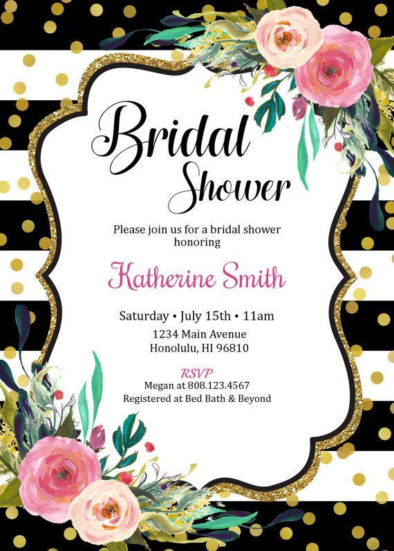 Floral Bridal Shower Invitation Black White Stripes Invite