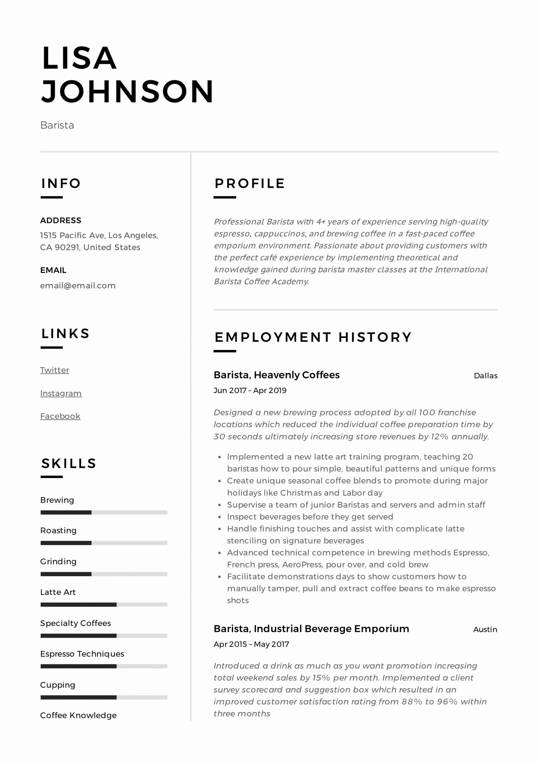 Barista Resume No Experience Unique Barista Resume Writing Guide 12 Resume Templates Resume Examples Basic Resume Examples Professional Resume Examples