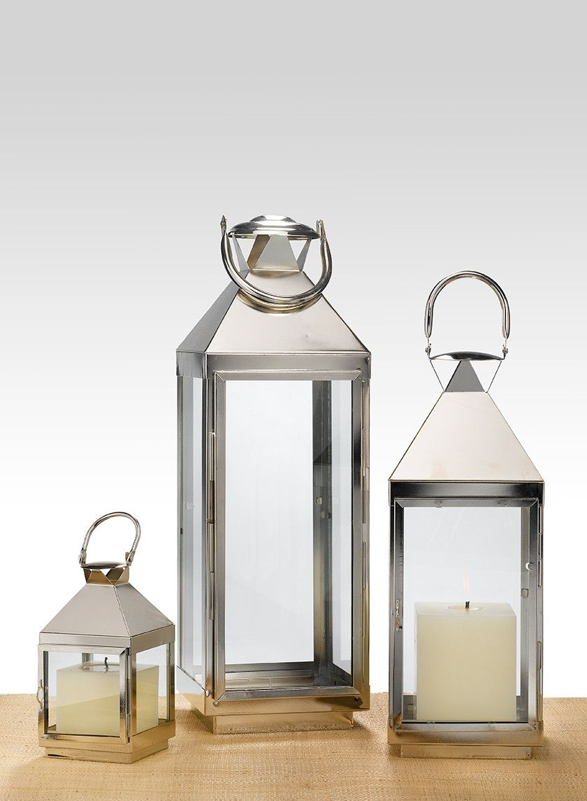 8in, 16in, & 21in Burnished Silver Square Lanterns | resources ...