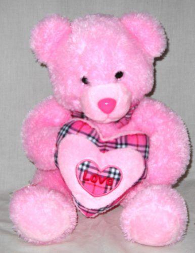 Boneka Beruang Teddy Bear Pink Grid Love L  Cm Boneka Beruang Teddy Bear Pink Grid