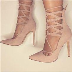 Shoespie Nude Lace Up Back Zipper Heels