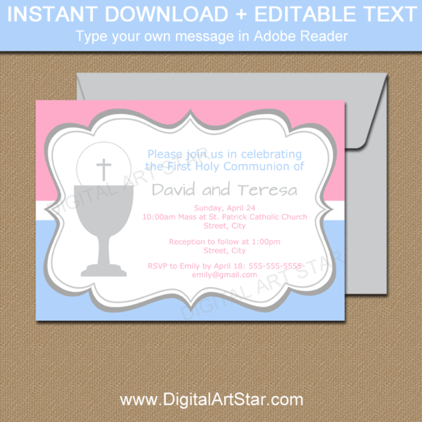 First Communion Invitations For Twins In Pink And Blue Communion Invitations Boy Communion Invitations Communion Invitations Girl