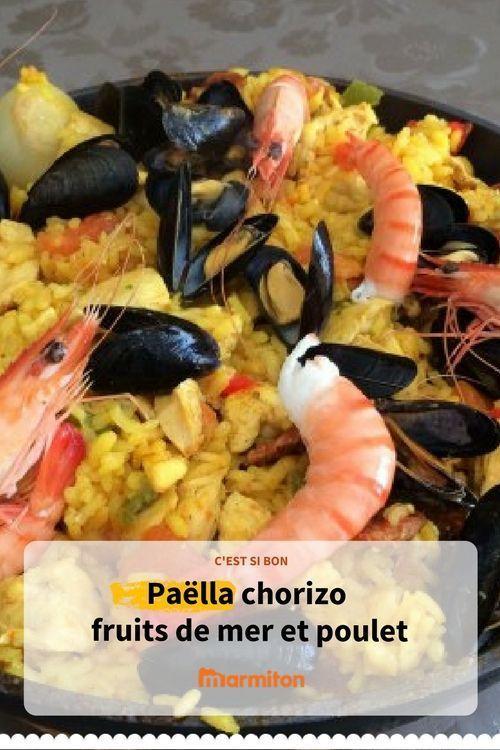 Paëlla fruits de mer, chorizo et poulet de Patou