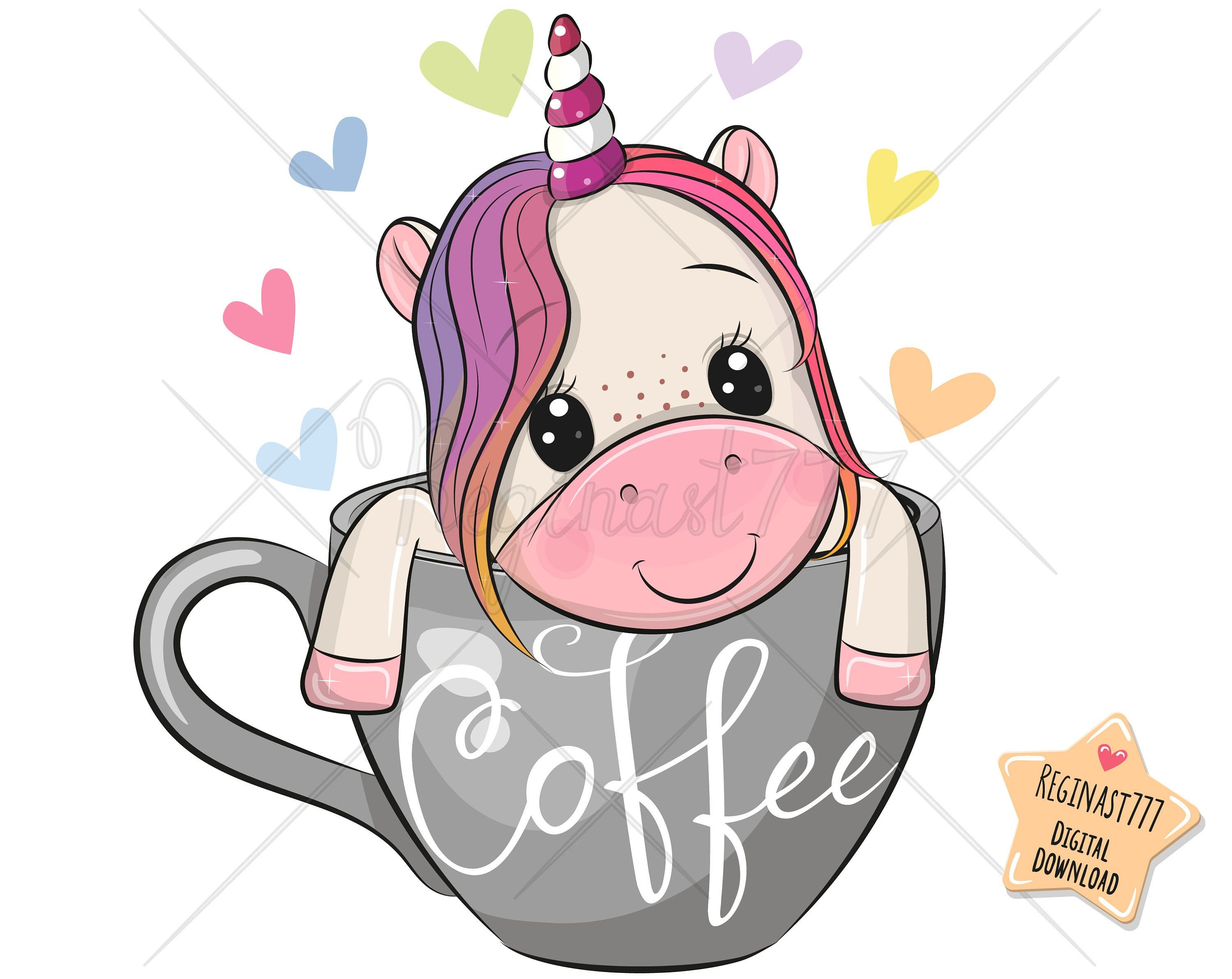 Cute Unicorn Png Coffee Digital Download Unicorn Clipart Etsy In 2021 Unicorns Png Unicorns Clipart Valentines Day Drawing