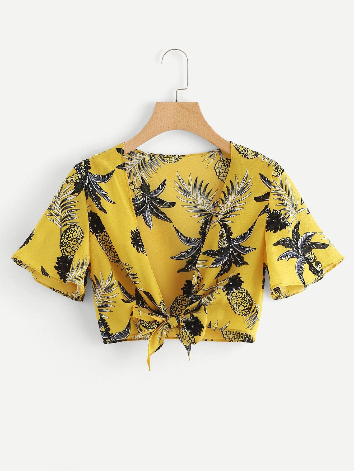 Pineapple print knot front top in fashion pinterest
