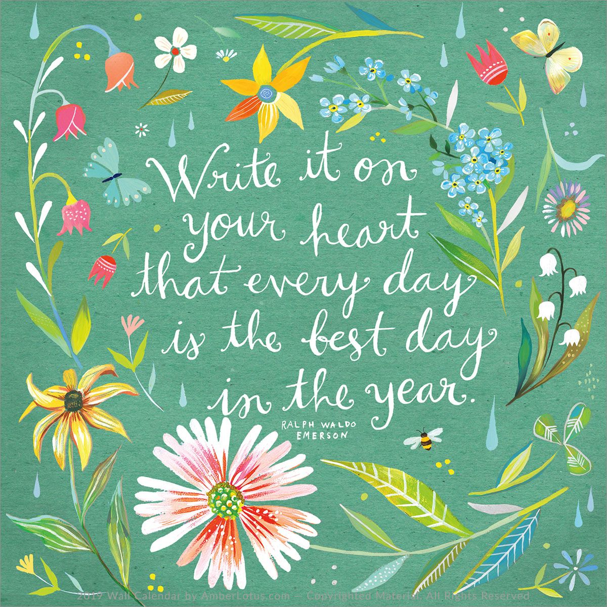 Katie Daisy 2020 Wall Calendar in 2020 World kindness