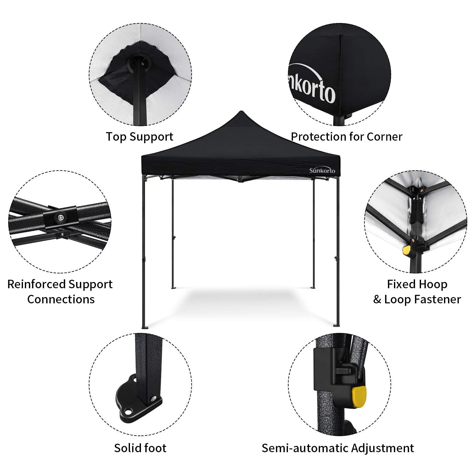 Sunkorto 10 10 Ft Pop Up Canopy Tent With 4 Weight Sand Bags Uv Protection Instant Shelter With Wheeled Carry Bag For Party Celebrations Outdoor Sports Or Co In 2020 Pop Up