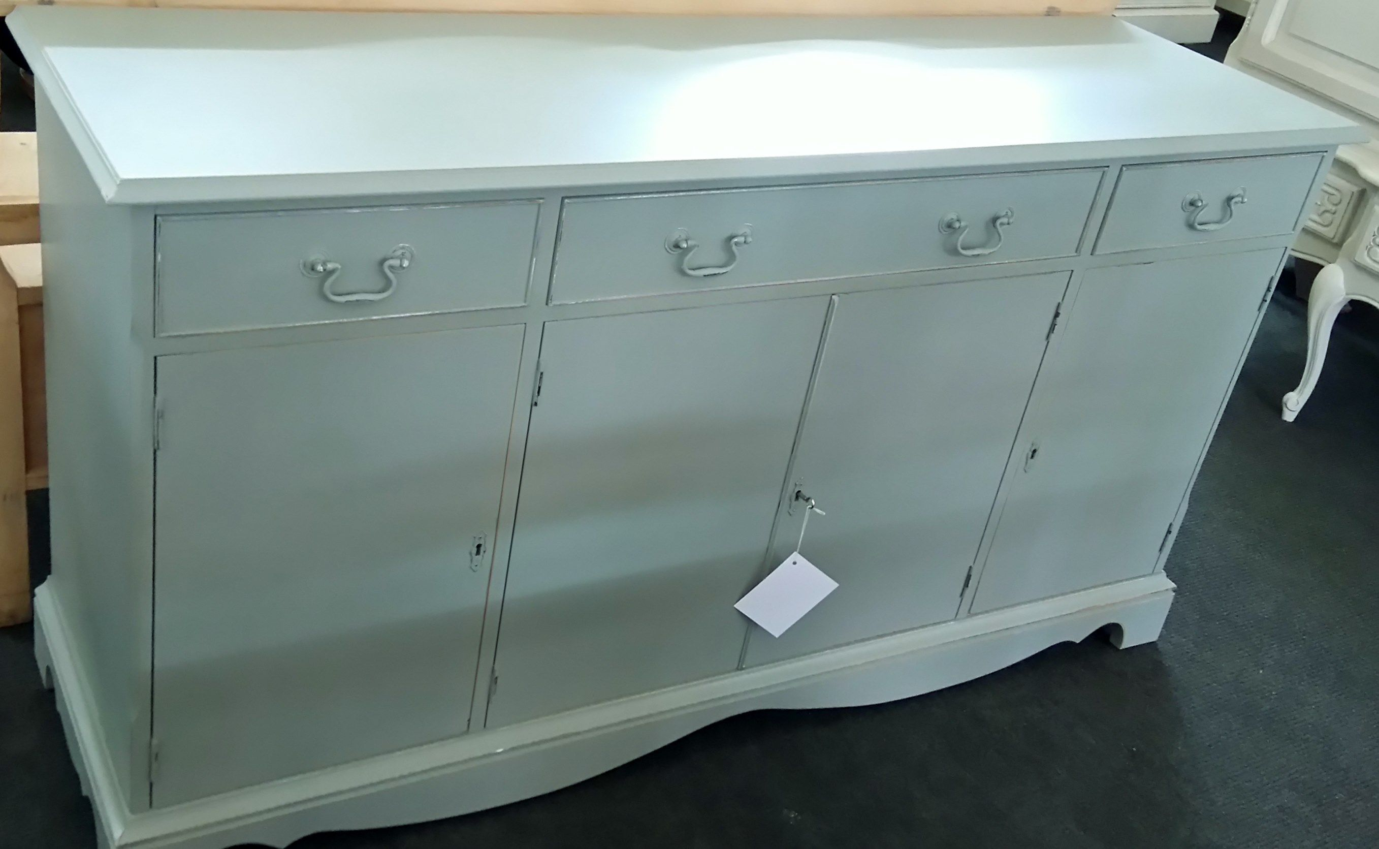 Yew wooden sideboard painted all-over in Farrow & Ball \'pigeon ...