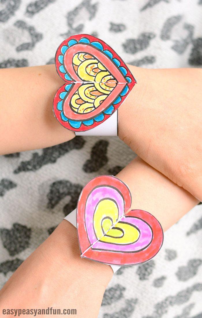 Heart paper bracelets for kids printable template - Papel infantil para pared ...