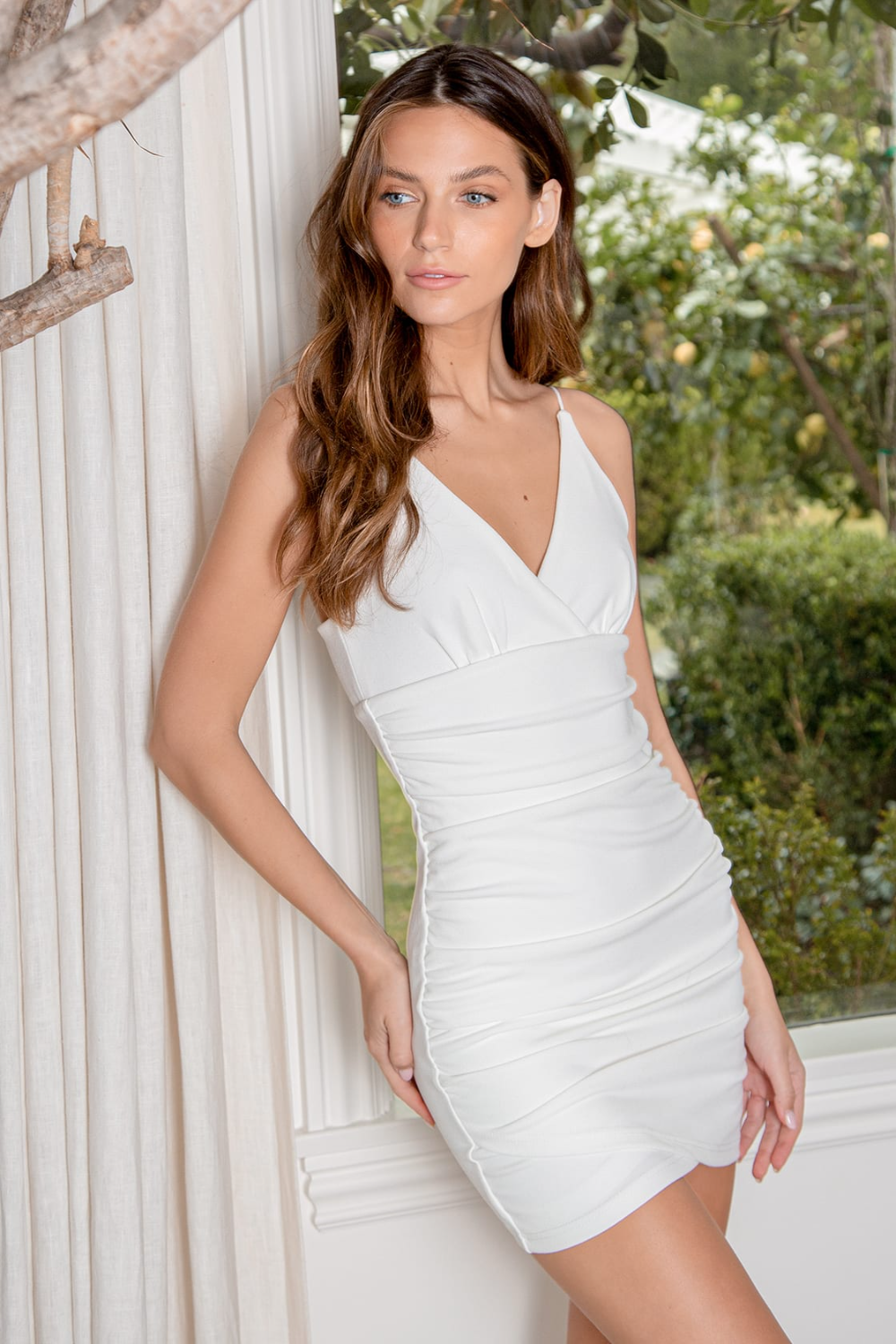 Current Obsession White Ruched Bodycon Mini Dress In 2021 Mini Dress Bodycon Mini Dress Dresses [ 1500 x 1000 Pixel ]