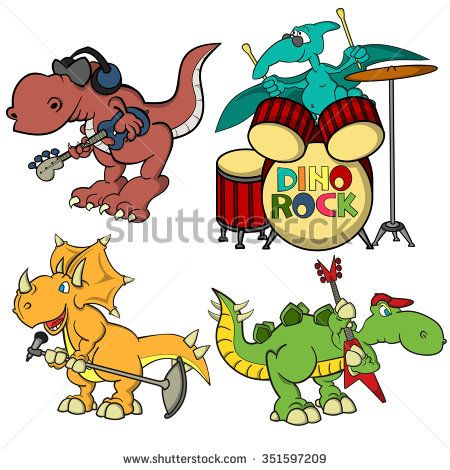 Cartoon Dino Rock Band Triceratops As A Singer With Microphone Stegosaurus Guitarist T Rex Bass Headphones On His Head
