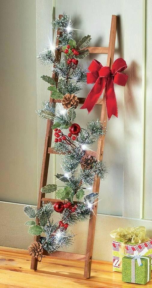 Ideas para incorporar escaleras a la decoraci n de navidad - Decoracion navidena artesanal ...