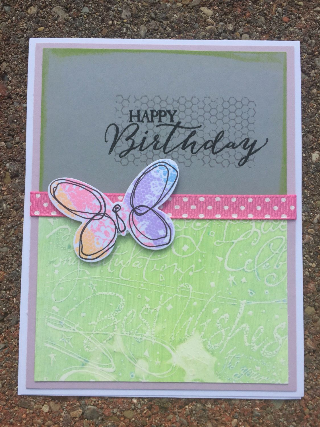 Happy Birthday Hand Stamped On The Front Stampin Up Card Measures X Envelope Always Included