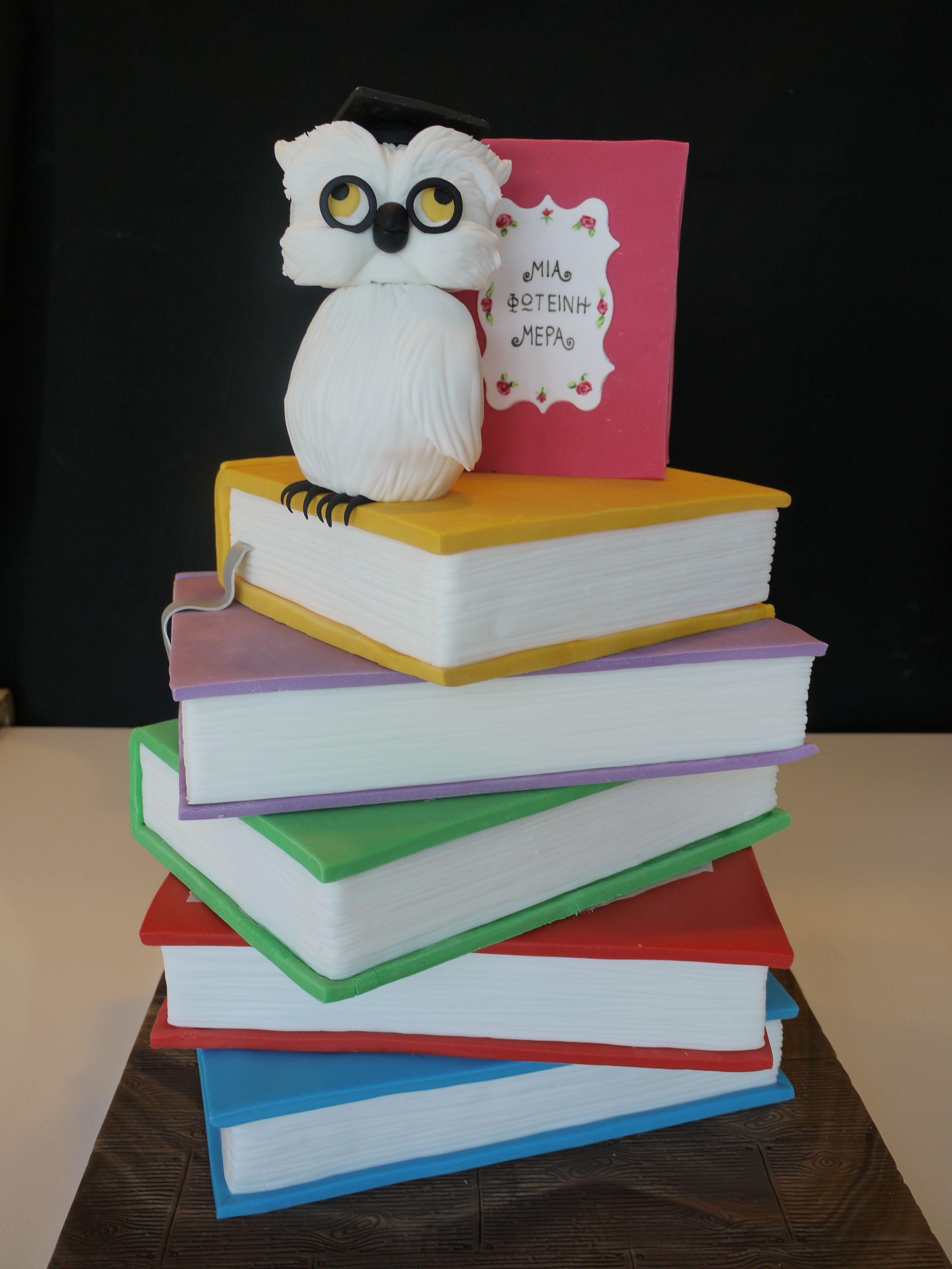 Books And Owl Wisdom Cake