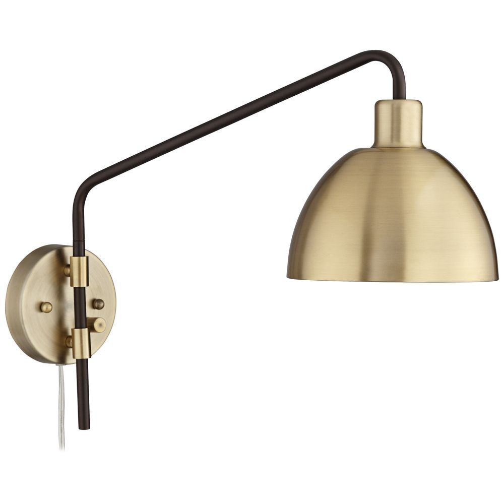 Colwood Antique Brass And Bronze Plug In Swing Arm Wall Lamp Style 76d38 In 2020 Swing Arm Wall Lamps Wall Lamp Metal Wall Lamp