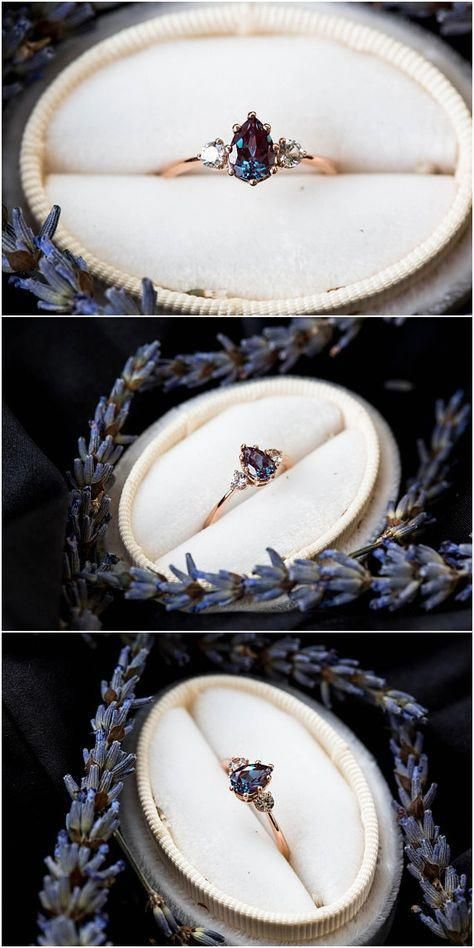 Alexandrit Saphir drei Stein Verlobungsring, Birne Verlobungsring, drei Stein Ring, Roségold …